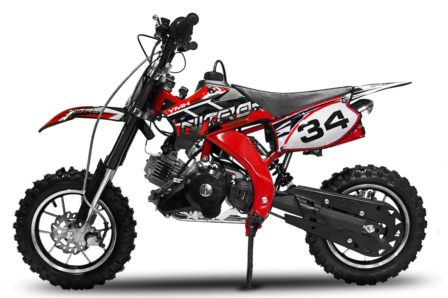 Betere Dirtbike Pitbike 50cc 4takt YMH 4S rood - Bestel direct DT-48